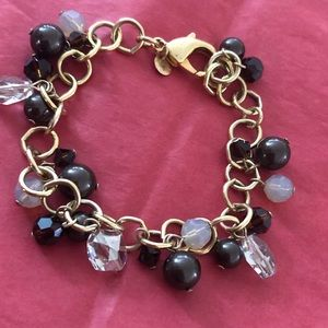 EMILY RAY GOLD, BROWN AND CRYSTAL BRACELET